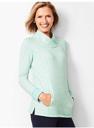 Talbots Heathered Fleece Wrap-Neck Tunic