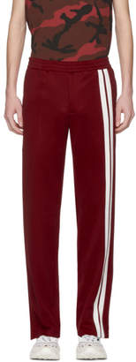 Valentino Red and White Striped Sweatpants