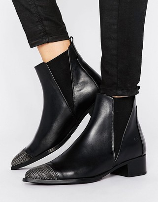 Bronx Leather Boot With Chain Toe $103 thestylecure.com