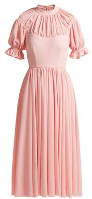 Emilia Wickstead Philly Ruched Crepe Dress - Womens - Light Pink