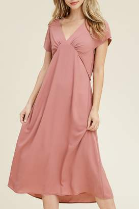 Riah Fashion Fitted-Waist Midi Dress
