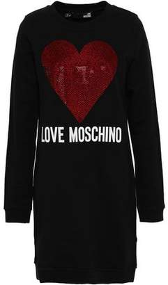 1f033fdd282 Love Moschino Crystal-embellished Printed French Cotton-blend Terry Mini  Dress