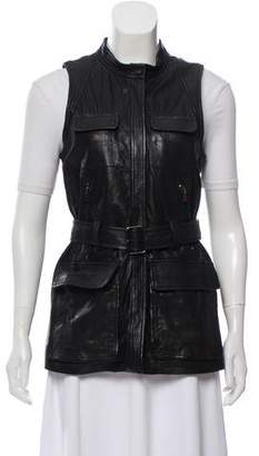 Theory Leather Belted Vest