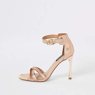River Island Rose gold wide fit barely there sandals