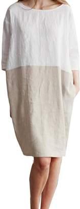 Comaba Womens Linen Baggy Contrast Color 3/4 Sleeve Midi Skirt Dress M