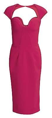 Gustavo Cadile Women's Open Back Cap Sleeve Sheath Dress