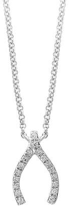 Effy 14K White Gold 0.07TCW Diamond Wishbone Pendant Necklace