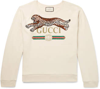 Gucci Appliqued Logo-Print Loopback Cotton-Jersey Sweatshirt - Men - Cream