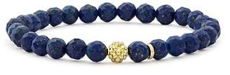 Lagos 18K Gold Caviar Icon Lapis Beaded Stretch Bracelet, 6mm