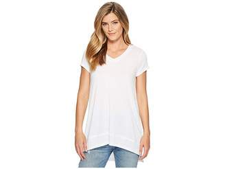 Mod-o-doc Soft Crinkle Jersey Wrap Around Lace Inset Short Sleeve T-Shirt Women's T Shirt