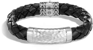 John Hardy Classic Leather Chain Hammered Silver Large Bracelet