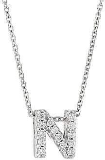 Roberto Coin Women's Tiny Treasures 18K White Gold & Diamond Love Letter-N Necklace
