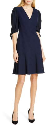 Rebecca Taylor Tailored By Tie Sleeve Mix Media Dress