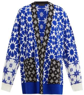 Haider Ackermann Salinas Cashmere Blend Oversized Cardigan - Womens - Blue White