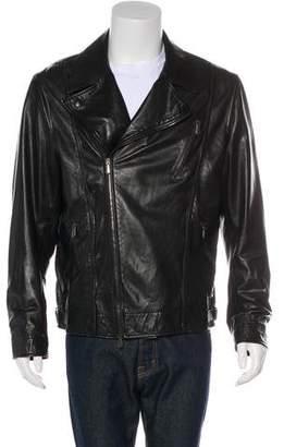 Bottega Veneta Leather Zip-Accented Moto Jacket