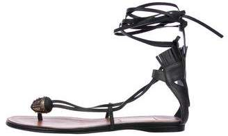 Valentino Leather Thong Ankle Straps Sandals