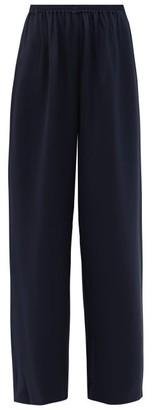 eskandar Flared Silk Crepe Trousers - Womens - Navy