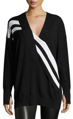 Rag & Bone Grace Striped Merino V-Neck Sweater, Black/White $395 thestylecure.com