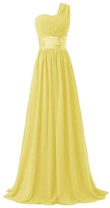 HAWEE Women's One Shoulder Chiffon Long Evening Dress Floor Length Trailing Bridesmaid Dress