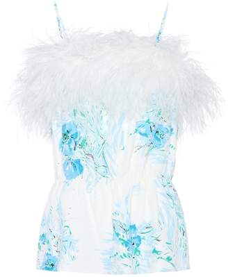 Prada Exclusive to mytheresa.com feather-trimmed silk top