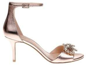 Badgley Mischka Miguela Metallic Leather Stiletto Sandals