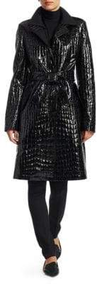 Akris Punto Croc-Embossed Patent Trench Coat