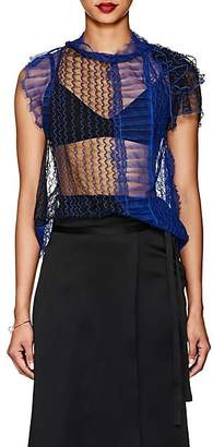 3.1 Phillip Lim Women's Colorblocked Sheer Lace Blouse - Electric Blu