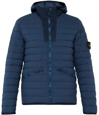 Stone Island Quilted Down Filled Hooded Coat - Mens - Blue