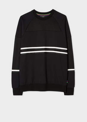Paul Smith Men's Black Cotton-Viscose Panelled Stripe Sweatshirt