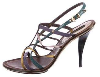 Louis Vuitton Alligator-Trimmed Multistrap Sandals
