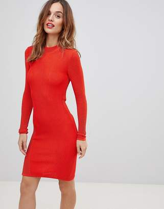 Y.A.S textured knit mini dress in orange