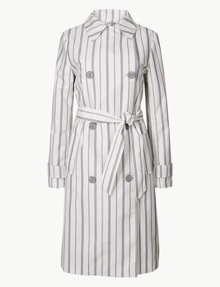 Marks and Spencer Striped Double Breasted Trench Coat