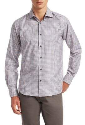 Saks Fifth Avenue COLLECTION Small Graph Check Cotton Shirt