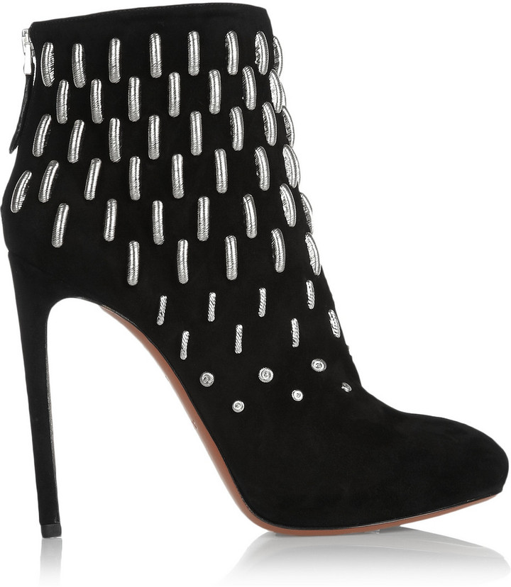 Alaia Metal-embellished suede boots