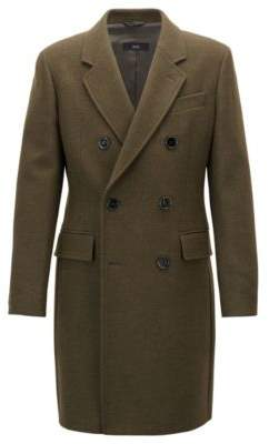 BOSS Hugo Double-breasted coat in a melange wool 42R Dark Green