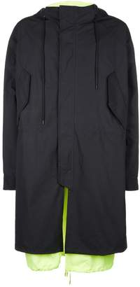 Juun.J Neon Hooded Parka Coat