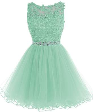 TideClothes Short Beaded Homecoming Dress Tulle Applique Prom Party Gowns RoyalBlue