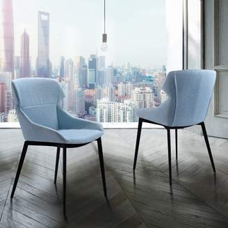 Marelana Luis Modern Dining Chair in Matte Black Finish and Blue Fabric - Set of 2