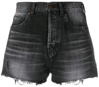 Saint Laurent raw edge denim shorts