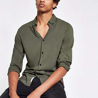 River Island Khaki viscose long sleeve shirt