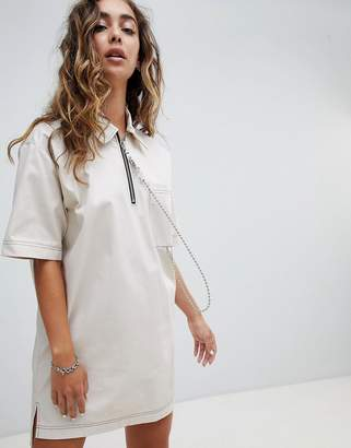 The Ragged Priest Woven T-Shirt Dress With Ball Chain