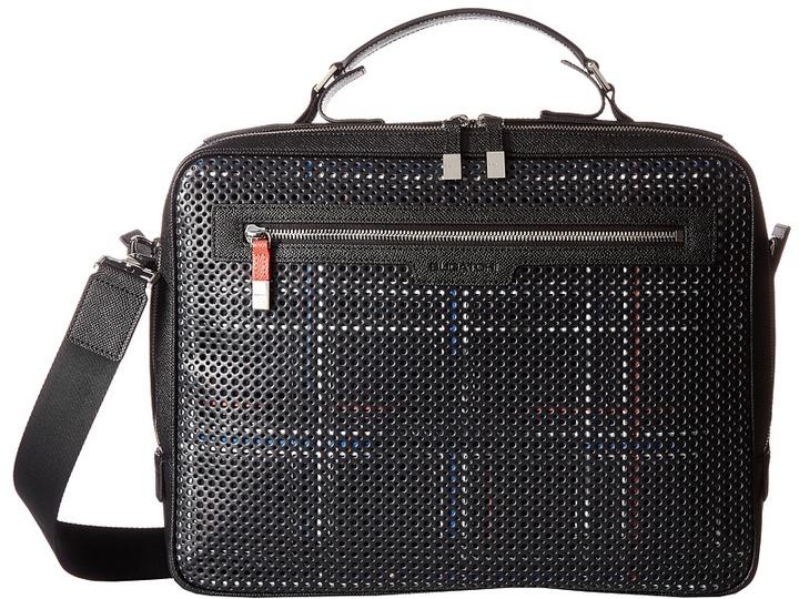 BugatchiBUGATCHI Nylon with Leather Trim Brief Case