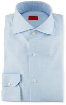 Isaia Jacquard Cotton Dress Shirt
