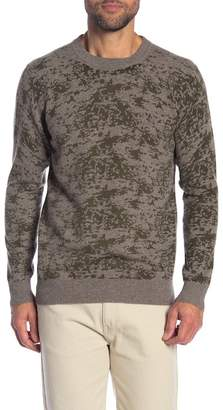 Qi Cashmere Camo Printed Crew Neck Sweater