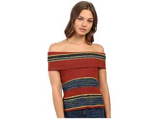 Free People Carly Cowl Off the Shoulder Stripe Sweater Top Women's Sweater