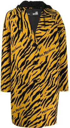 Love Moschino tiger pattern single-breasted coat