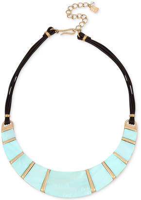 """Robert Lee Morris Soho Gold-Tone Imitation Mother-of-Pearl & Leather Statement Necklace, 15"""" + 3"""" extender"""