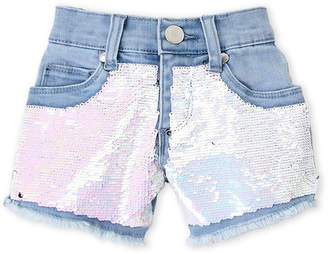 Pinc Premium Girls 7-16) Sequin Frayed Denim Shorts