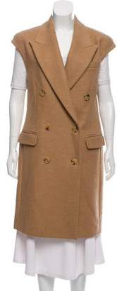 Michael Kors Double-Breasted Wool-Camel Hair Vest