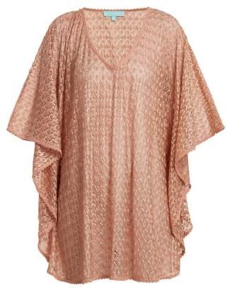 Melissa Odabash Madison Waterfall Sleeve Crochet Knit Kaftan - Womens - Pink